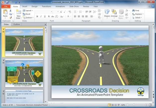 Crossroads Decision PowerPoint Template