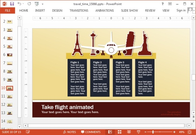 Customizable travel layouts for PowerPoint