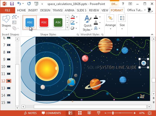Customize solar system slide