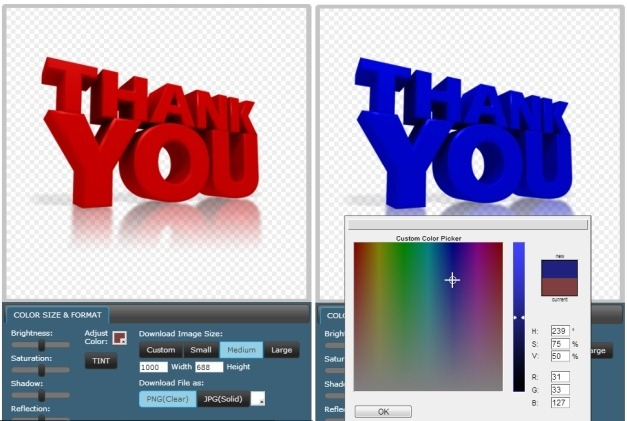 Customizing thank you clipart