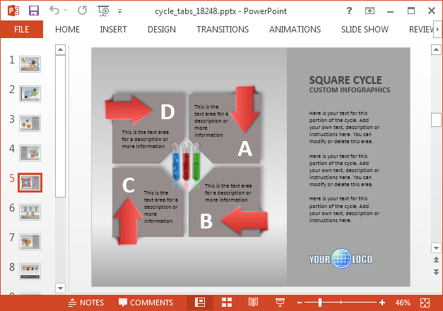 Cycle diagram slide for PowerPoint
