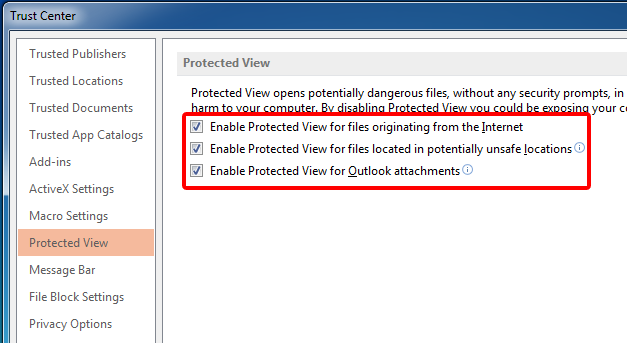 Disabled Protected view in PowerPoint