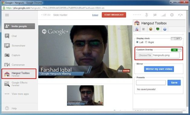 Display Image Overlay With Your Brand Name in Google Hangouts