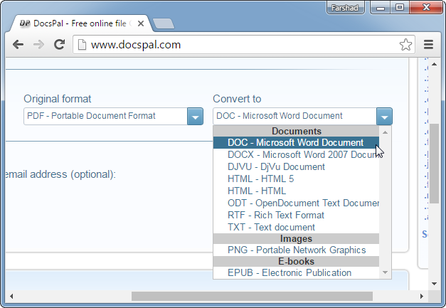 DocsPal for converting PDF files