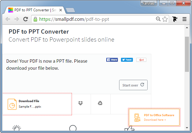 Download converted PDF file as PowerPoint presentation