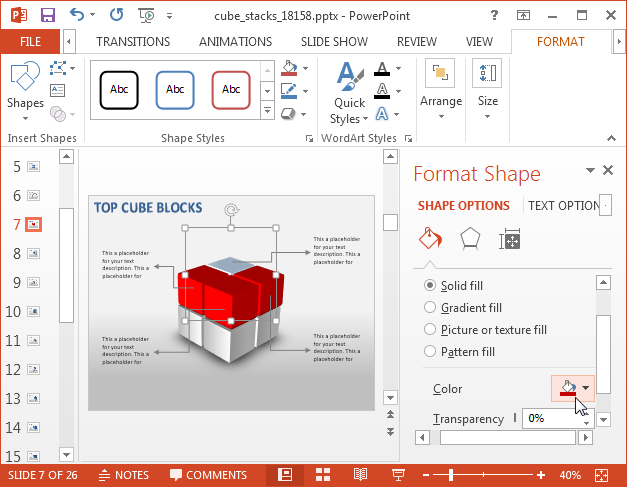 Editable cube diagrams for PowerPoint