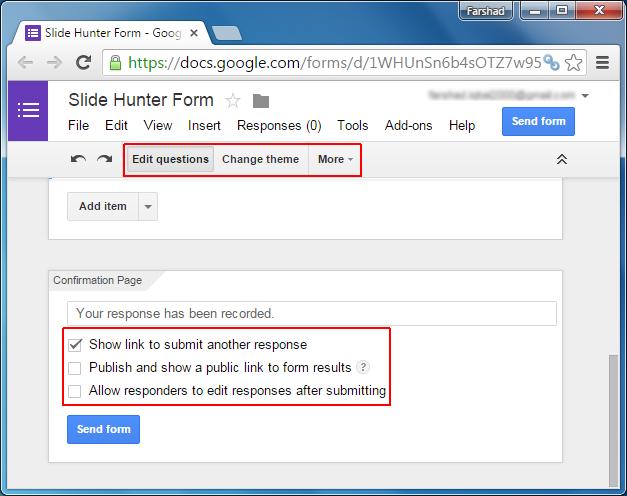 Edit form settings