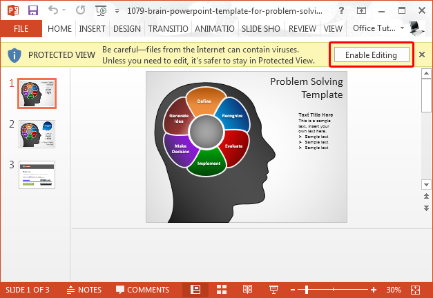 Enable editing from Protected View