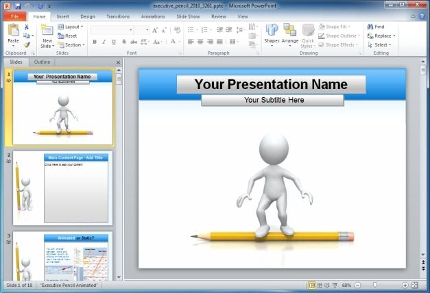 Executive Education Pencil PowerPoint Template