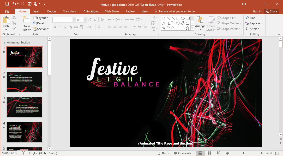 Animated Festive Light Balance PowerPoint Template
