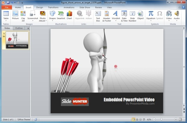 Figure Shoot Arrows At Target PowerPoint Template And Video Animation