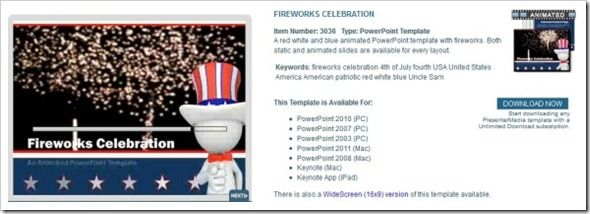 Fireworks Celebration - A PowerPoint Template from PresenterMedia