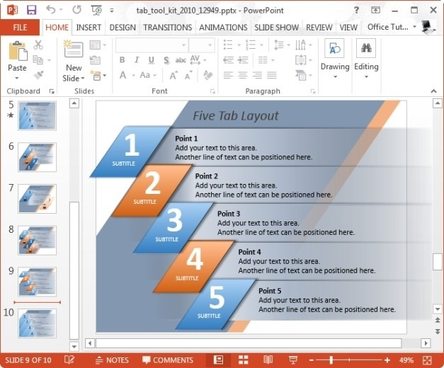 Five Tab Layout for PowerPoint