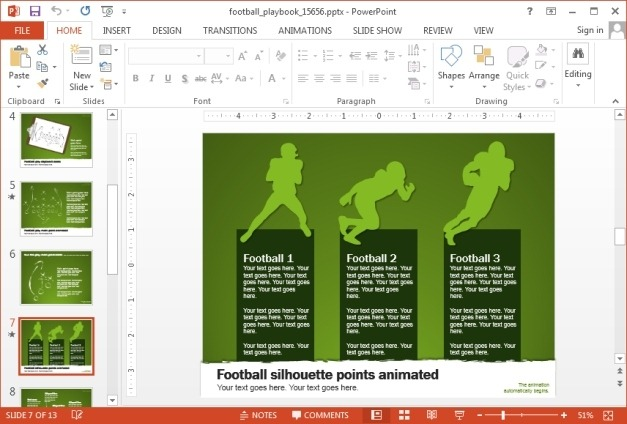 Football comparison slide