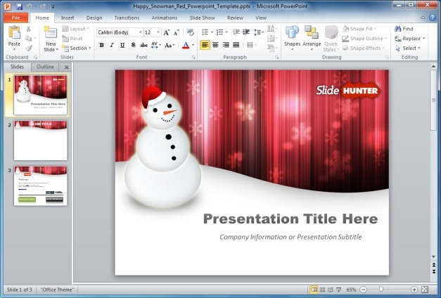 Free Happy Snowman PowerPoint Template