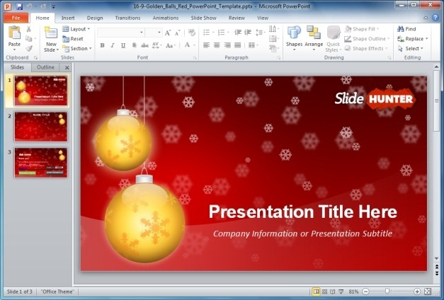 Free Widescreen Golden Balls Red PowerPoint Template