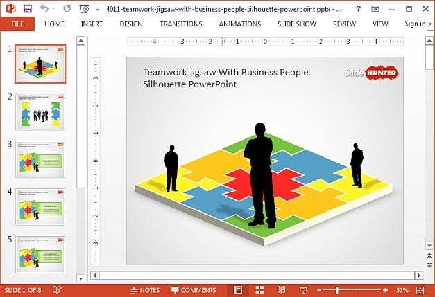 Free jigsaw puzzle teamwoek PowerPoint template