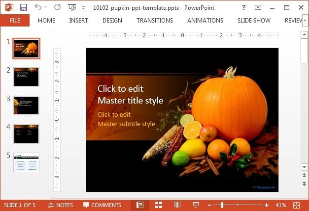 Free pumpkin  PowerPoint template