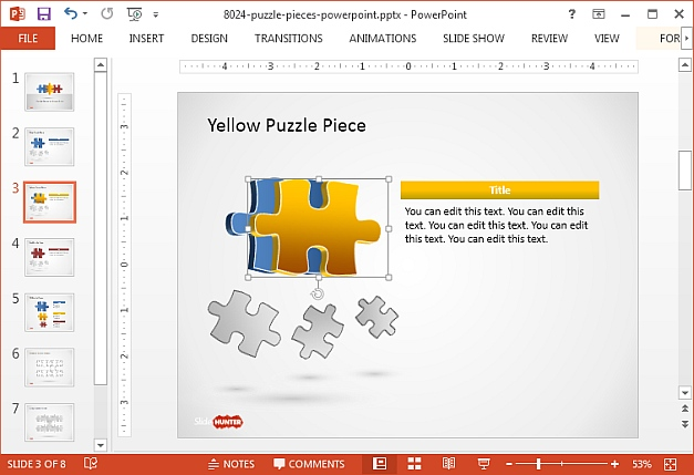 Free puzzle piece shapes template for PowerPoint