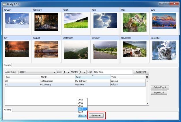 Generate Photo Calendar