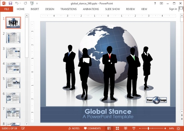 Global stance animated PowerPoint template