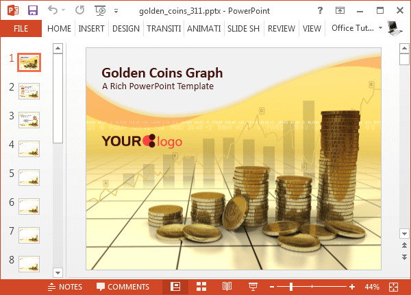 Golden coins PowerPoint template