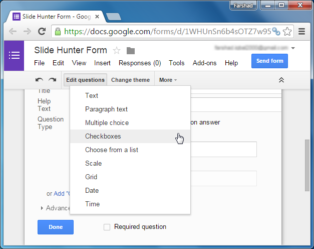 Google Forms question types