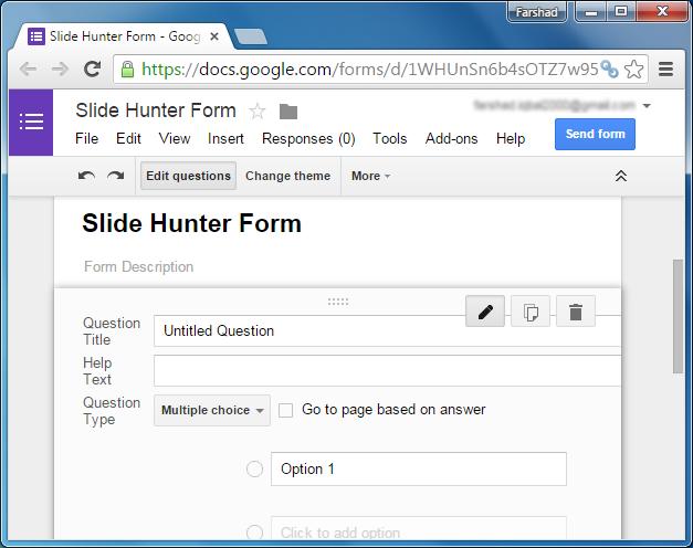 Google Forms survey form