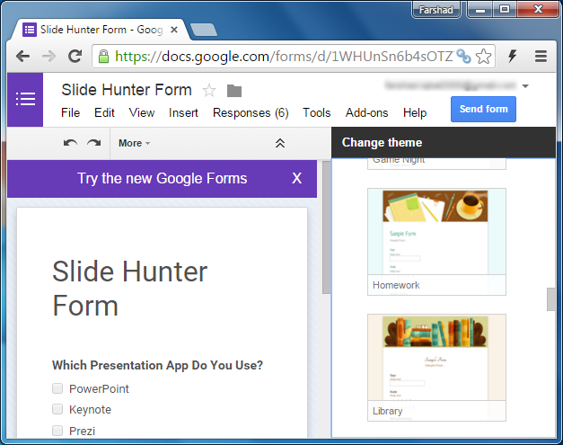 Google Forms themes