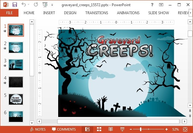 Graveyard creeps halloween PowerPoint template