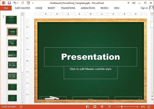 Green chalkboard template for PowerPoint