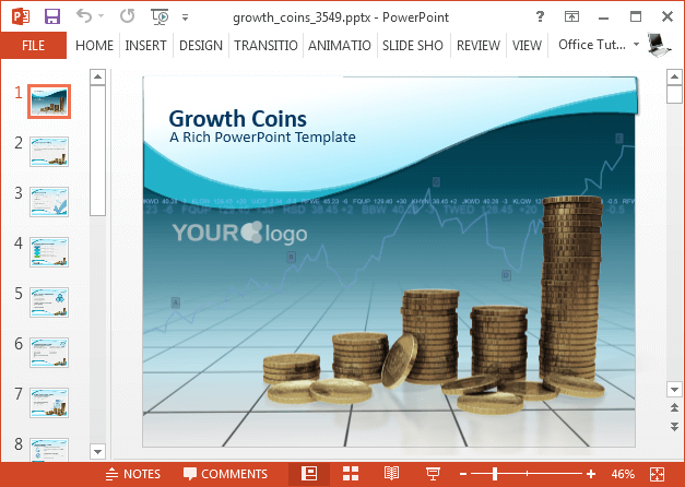 Growth coins PowerPoint template
