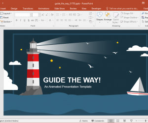 Animated Guide the Way Lighthouse PowerPoint Template