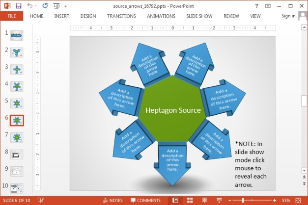 Heptagon source arrow diagram for PowerPoint