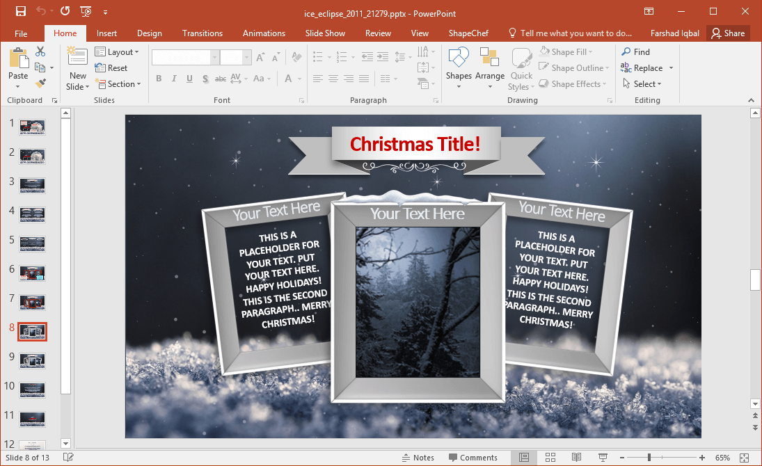Holiday Season PowerPoint Frames