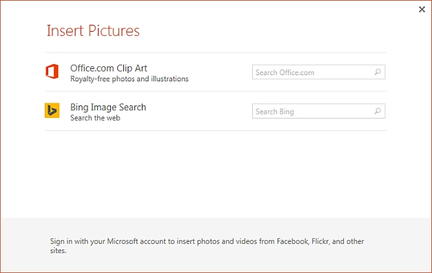 Insert images from Bing in PowerPoint