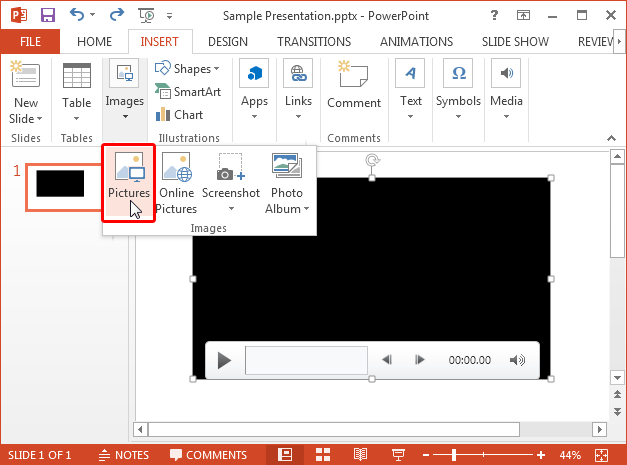 Insert picture in Microsoft PowerPoint 2013