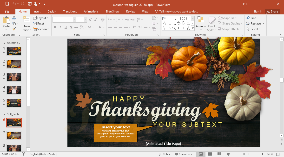 Insert your Text to Thanksgiving Slides