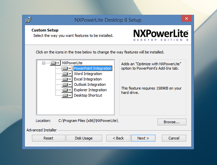 Install NX PowerLite for Windows