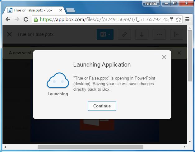 Launching app in PowerPoint