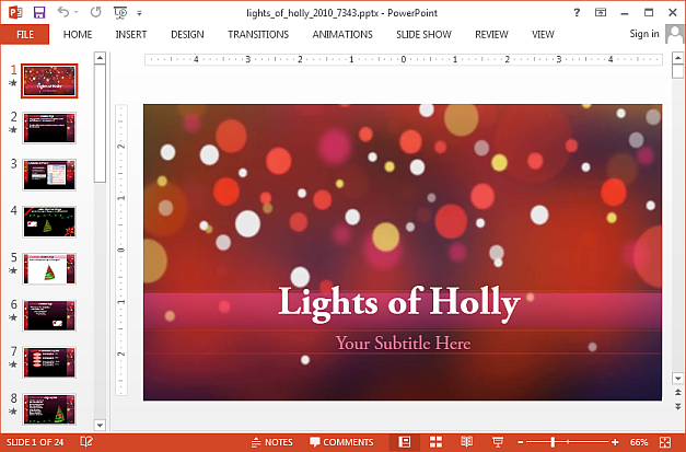 Lights of holly animated PowerPoint template