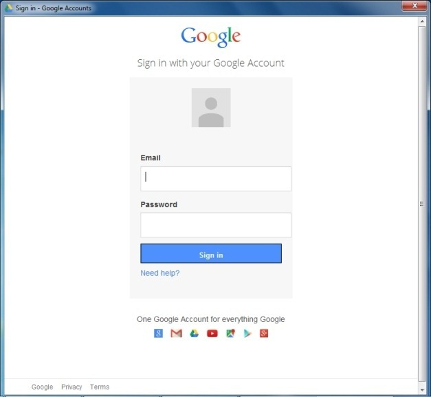 Login to Google Drive for Office plugin