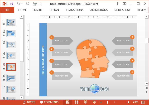 Mind map slide design for PowerPoint 2016