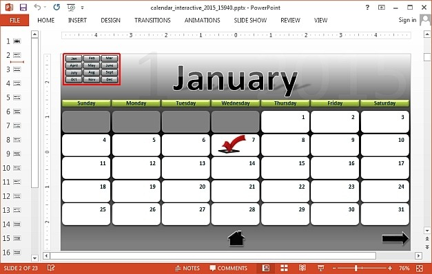 Monthly interactive calendar