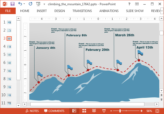 Mountain timeline slide design