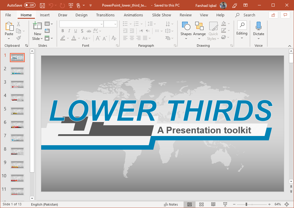 News Channel PowerPoint Template with Lower Third Design