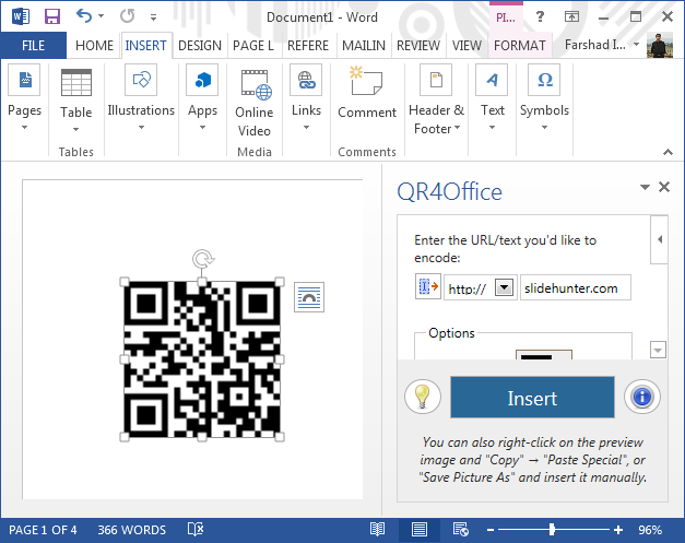 Office app running in Word 2013