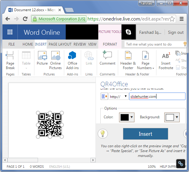 Office app running in Word Online