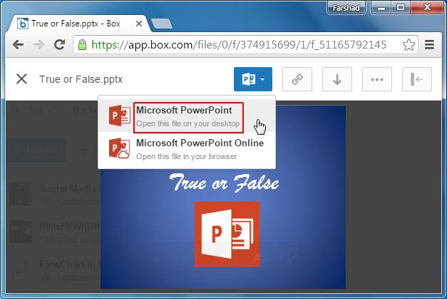 Open PowerPoint file on desktop