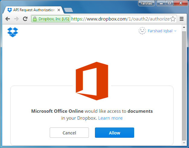 Open PowerPoint with Dropbox